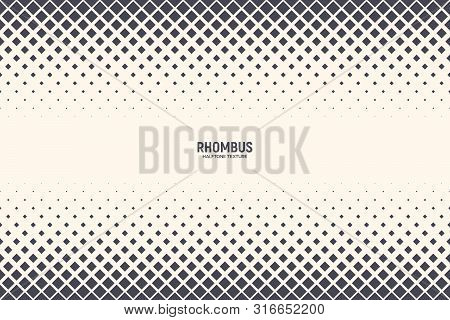 Rhomboid Shapes Vector Abstract Geometric Technologic Halftone Pattern Background. Half Tone Squares