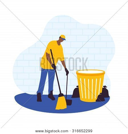 Flat Male Vector Character With A Broom. Cleaner Boy Is Holding A Broom. Cleaner Roads, Streets, And