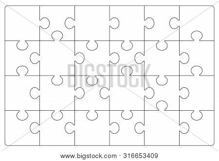 Puzzles Grid Template. Jigsaw Puzzle 24 Pieces, Thinking Game And 6x4 Jigsaws Detail Frame Design. B