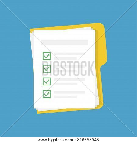 Vector Folder With Checklist And Documents On Blue Background In Trendy Flat Style. File With Papers