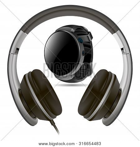 Headphone And Smart Watch Isolated On White Background. Black Vector Blank Set. Speaker Headset. Ear