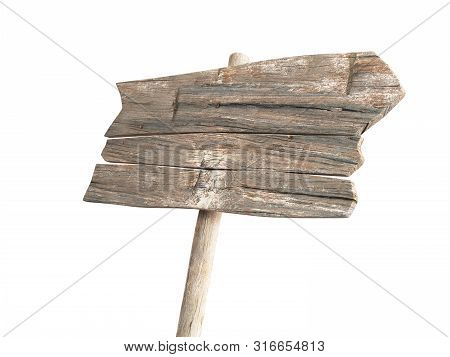 Empty Wooden Sign 3d Render Isolated On White Background