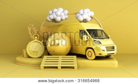 Minimal Simple Delivery Background Transportation Concept On Pastel Color Background For Copy Space