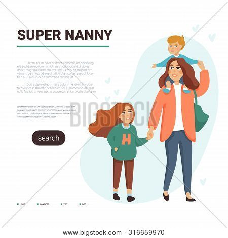 Babysitting Service Vector Template. Mother, Nanny With Two Chhildren. Flat Style Vector Illustratio
