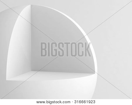 Abstract white geometric installation. Sphere with cubical cut sector. 3d rendering illustration poster