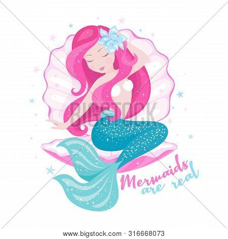Beautiful Mermaid With Shell For T Shirts Or Kids Fashion Artworks, Children Books. Fashion Illustra