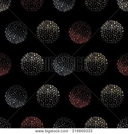 Abstract Sparkling Orange, Gold And Blue Dotted Circles On Black Background. Seamless Geometric Vect