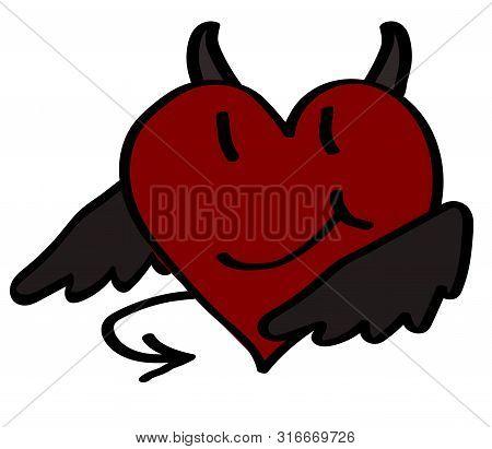 Sly Horned Heart On A White Background. Vector Illustration.