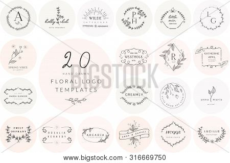Vector Hand Drawn Floral Logo Templates Collection. With Doodle Flowers And Branches. Flowered Desig
