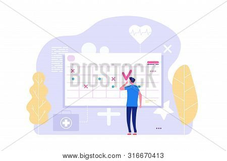 Online Doctor Appointment. Vector Man And Calendar, Planning Board, Agenda. Illustration Of Doctor A