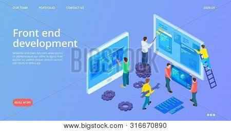 Front End Development. Isometric Interface Development Landing Page. Vector Site Construction, Web D