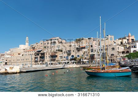 A Picture View To Jaffa Old City And An Ancient Harbor On A Beautiful Day. Tel Aviv, Israel.