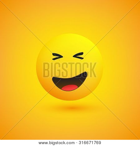 Grinning, Squinting Emoji - Simple Emoticon On Yellow Background - Vector Design Illustration