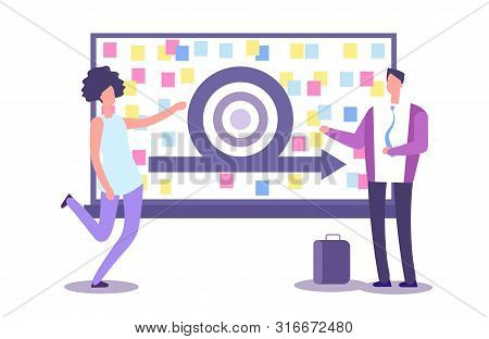 Agile Method Presentation. Vector Businesspeople And Scrub Board. Agile Concept And Agility Model De