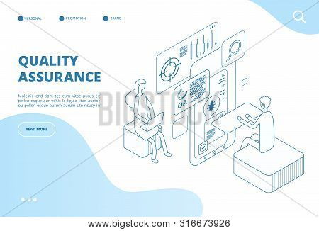 Quality Assurance Concept. Assured Result Of App Test, Software Analysis And Inspection. Bug Fixing,