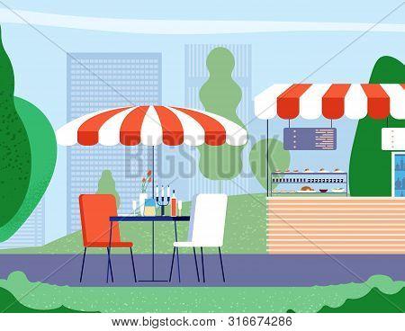 Summer Outdoor Cafe. Empty Table And Armchair Under Umbrella In Street Cafe. Bistro Restaurant Vecto