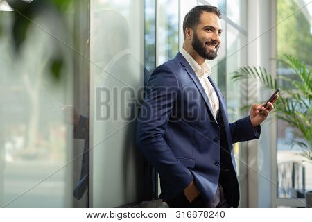 Pleased Young Male Person Having Great Idea