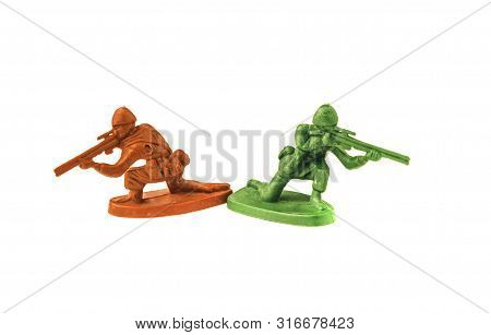 Plastic Toy Army Chief Talking On White Background