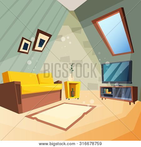 Attic. Bedroom For Kids Interior Of Attic Room Corner With Window On Ceiling Vector Picture In Carto