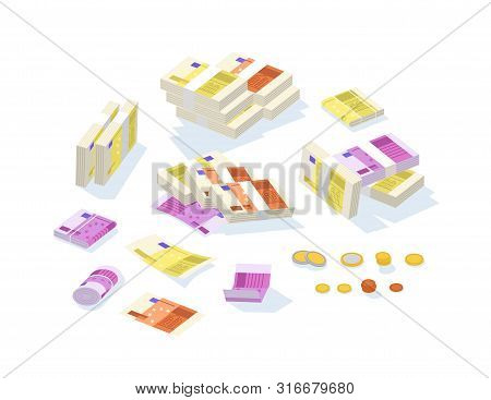 Set Of Fiat Money Or European Currency. Bundle Of Euro Bills Or Banknotes In Stacks And Rolls And Ce