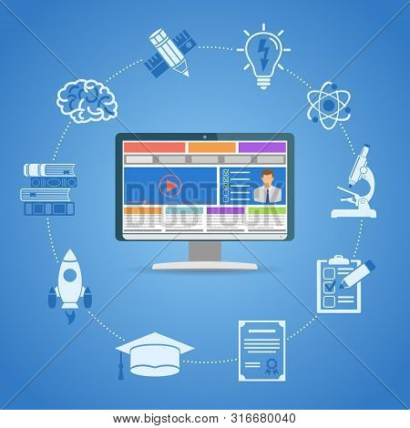 Online Education Infographics With Flat Icon Set For Flyer, Poster, Web Site Like Mortarboard, Books