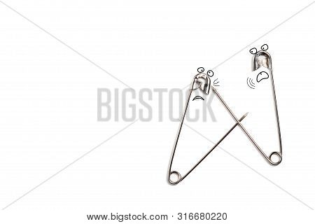 Fighting Safety Pins Background. Two Cartoonish Characters Fighting With Each Other. Conflict, Skirm