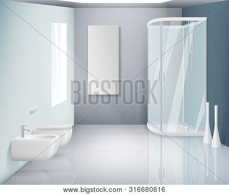 Bathroom Interior. Modern Toilet Or Washroom Objects Bathroom Realistic Vector Background. Illustrat