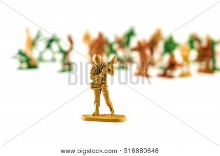 Army Of Toy Soldiers Isolated White Background.