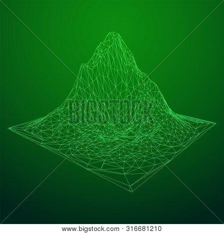 Wireframe Terrain Background. Cyberspace Landscape Grid Technology Vectorillustration