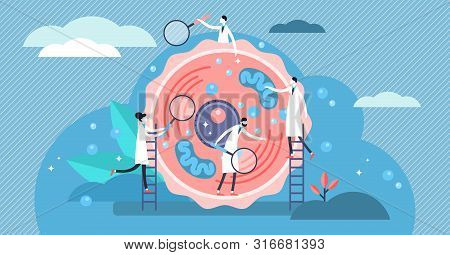 Human Cell Vector Illustration. Flat Tiny Stylized Microbiology Persons Concept. Scientists Examine