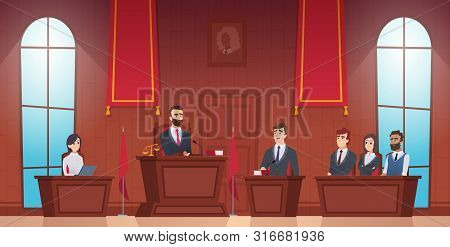 Court room. Judge in courtroom police officer characters of jury inside evidence vector picture. Courthouse and justice, judge and session illustration poster
