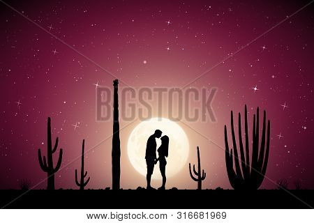 Lovers Between Cactuses In Park On Moonlit Night. Vector Illustration With Silhouette Of Loving Coup