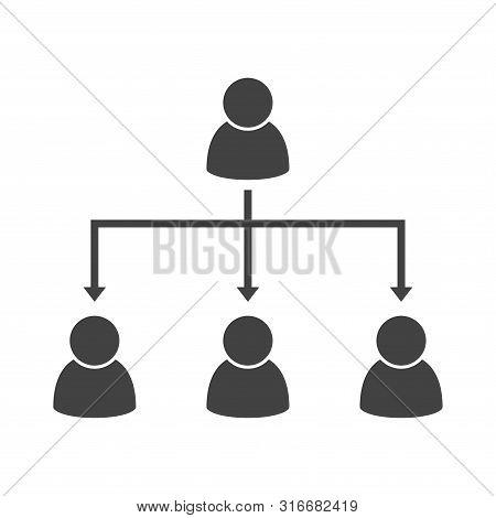 Delegation Concept Vector. Project Management. Teamwork. Pictograms Of People. Corporation Line. Vec