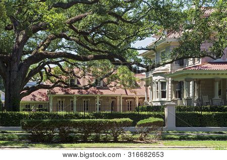 landmark estate facace courtyard and carriage house in historic area of new orleans