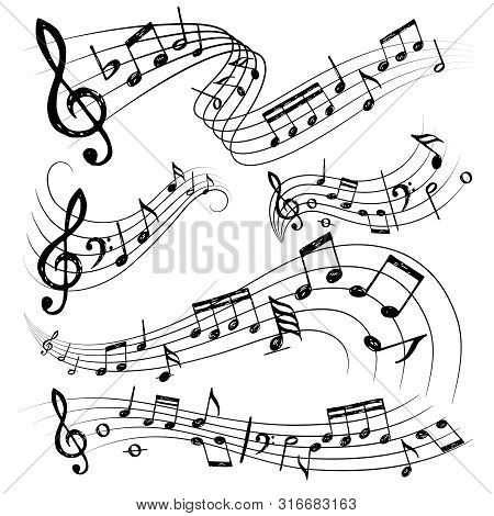 Orchestra Notes. Sign Or Sound Symbols Musician Guitar Conservatory Notes Vector Collection. Notes O
