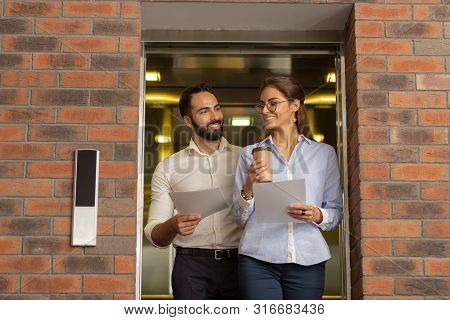 Charming Female Person Flirting With Bearded Colleague