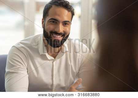 Handsome Brunette Male Person Looking At His Partner