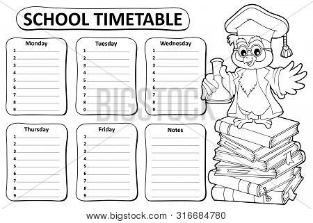 Black And White School Timetable Topic 4 - Eps10 Vector Picture Illustration.