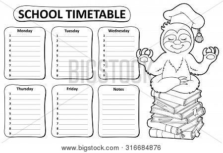 Black And White School Timetable Topic 5 - Eps10 Vector Picture Illustration.