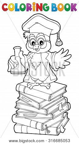Coloring Book Chemistry Owl Teacher 2 - Eps10 Vector Picture Illustration.