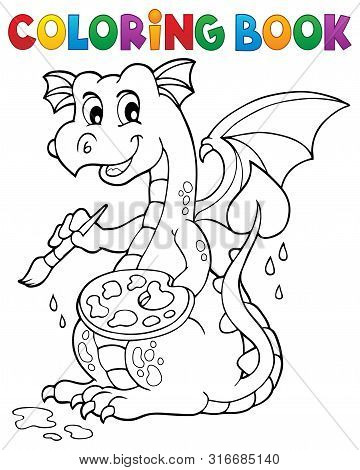 Coloring Book Painting Dragon Theme 1 - Eps10 Vector Picture Illustration.