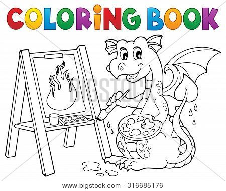 Coloring Book Painting Dragon Theme 2 - Eps10 Vector Picture Illustration.