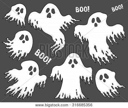 Ghosts Thematic Set 7 - Eps10 Vector Picture Illustration.