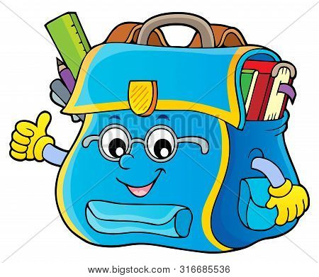 Happy Schoolbag Topic Image 4 - Eps10 Vector Picture Illustration.