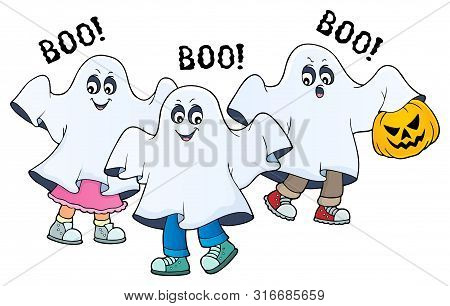 Kids In Ghost Costumes Theme Image 2 - Eps10 Vector Picture Illustration.