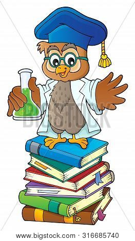 Owl Teacher With Chemical Flask Theme 2 - Eps10 Vector Picture Illustration.