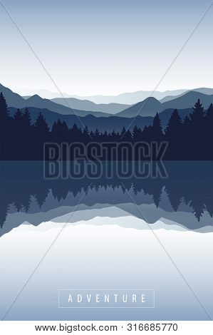 Blue Forest And Mountain Nature Landscape By The Lake Vector Illustration Eps10