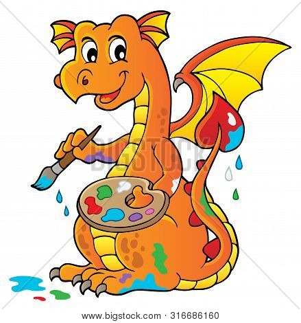 Painting Dragon Theme Image 1 - Eps10 Vector Picture Illustration.