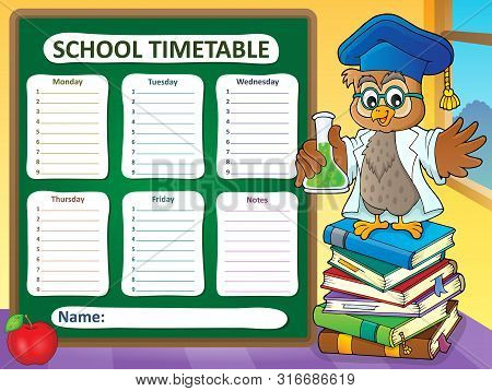 Weekly School Timetable Template 7 - Eps10 Vector Picture Illustration.