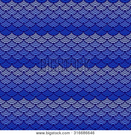 Aqua Abstract Background Blue Ultramarine Stylized Waves Of Sea Or Ocean Water. Vector Illustration